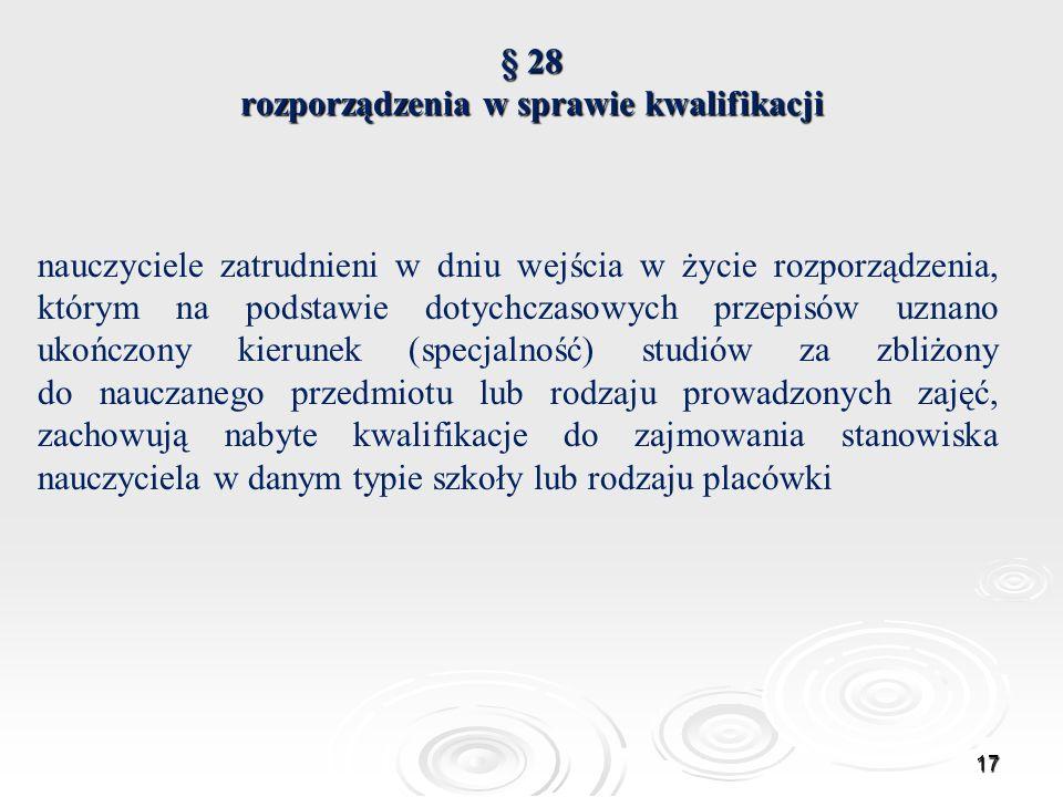 § 28 rozporządzenia w sprawie kwalifikacji
