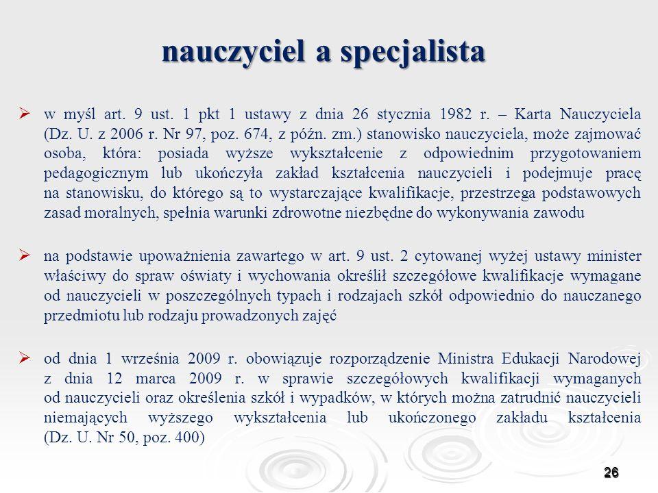 nauczyciel a specjalista