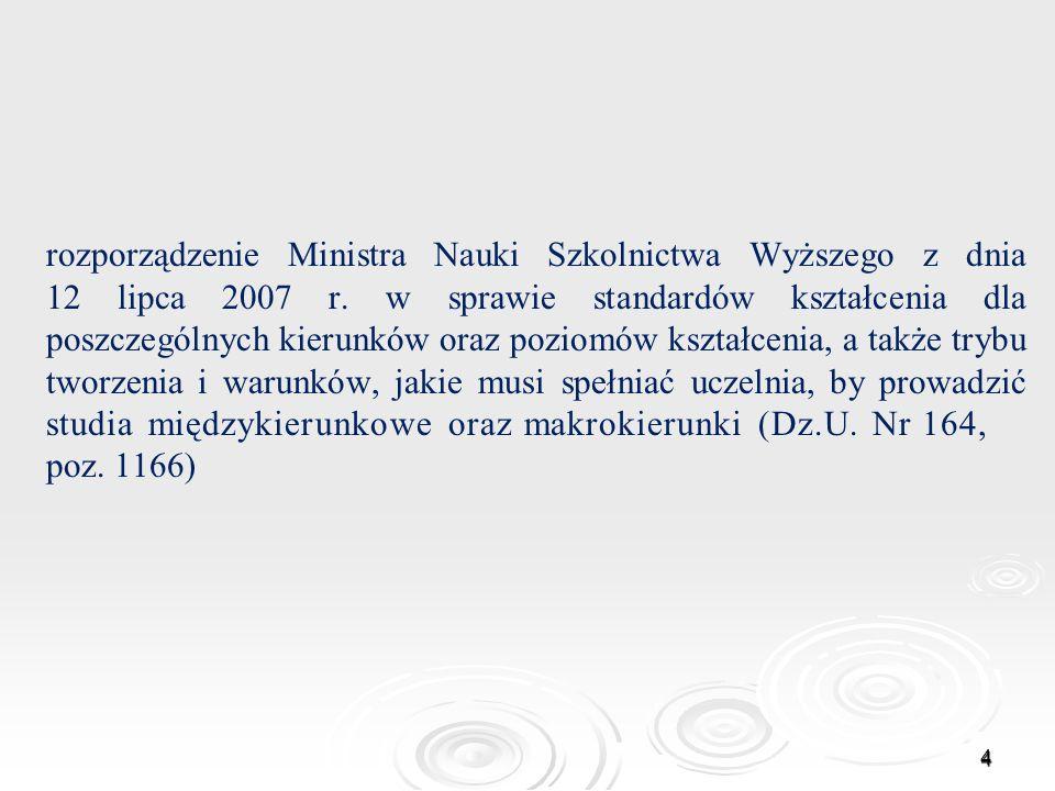 rozporządzenie Ministra Nauki Szkolnictwa Wyższego z dnia 12 lipca 2007 r.
