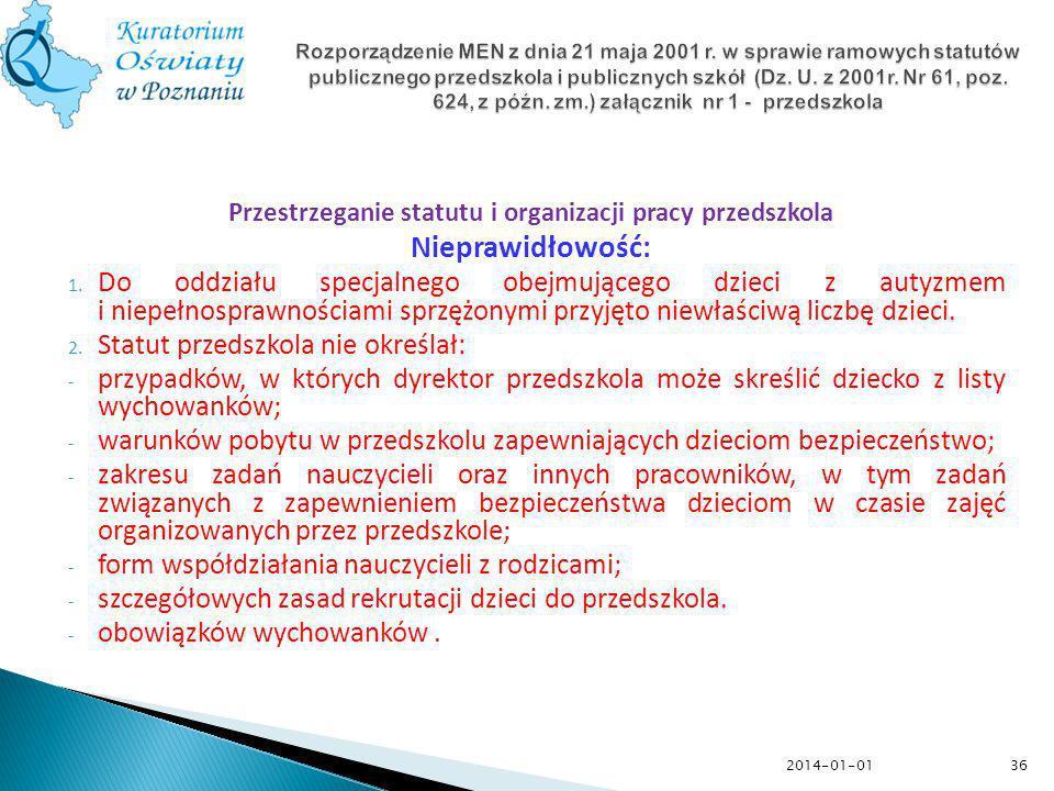 Przestrzeganie statutu i organizacji pracy przedszkola