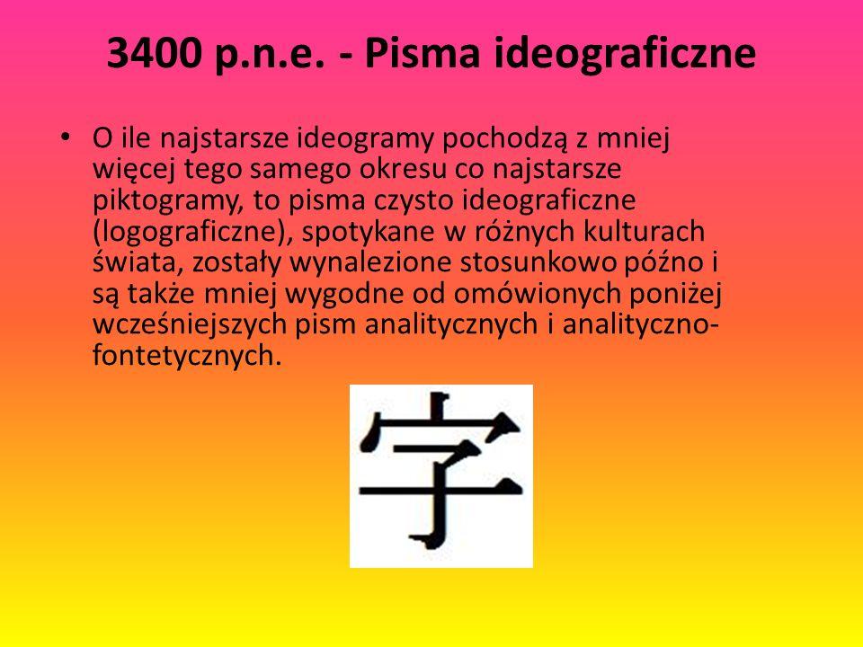 3400 p.n.e. - Pisma ideograficzne