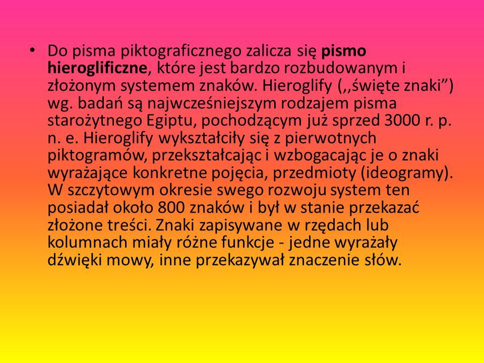 Do pisma piktograficznego zalicza się pismo hieroglificzne, które jest bardzo rozbudowanym i złożonym systemem znaków.