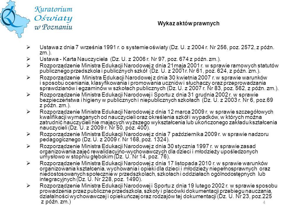 Wykaz aktów prawnych Ustawa z dnia 7 września 1991 r. o systemie oświaty (Dz. U. z 2004 r. Nr 256, poz. 2572, z późn. zm.).