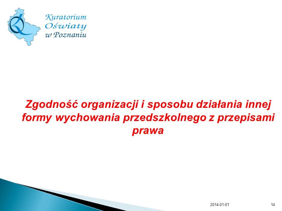 Zgodność organizacji i sposobu działania innej formy wychowania przedszkolnego z przepisami prawa