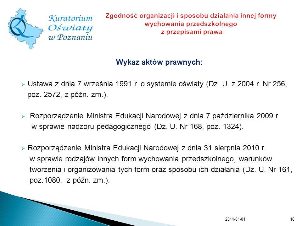 w sprawie nadzoru pedagogicznego (Dz. U. Nr 168, poz. 1324).