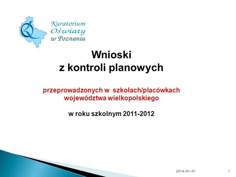 przeprowadzonych w szkołach/placówkach województwa wielkopolskiego