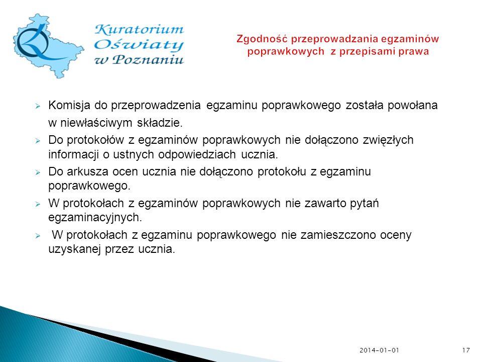 Zgodność przeprowadzania egzaminów poprawkowych z przepisami prawa