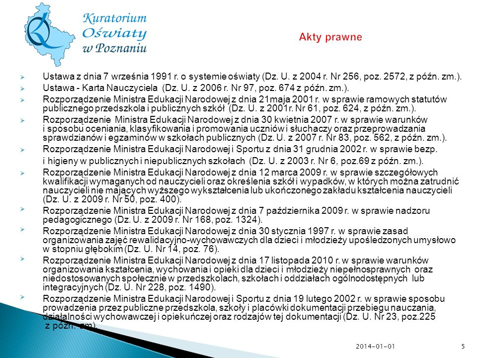Akty prawneUstawa z dnia 7 września 1991 r. o systemie oświaty (Dz. U. z 2004 r. Nr 256, poz. 2572, z późn. zm.).