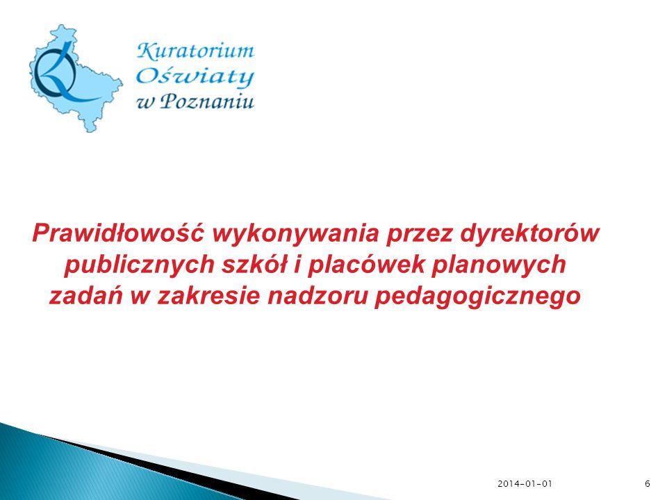 Prawidłowość wykonywania przez dyrektorów publicznych szkół i placówek planowych zadań w zakresie nadzoru pedagogicznego