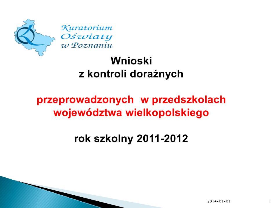 przeprowadzonych w przedszkolach województwa wielkopolskiego
