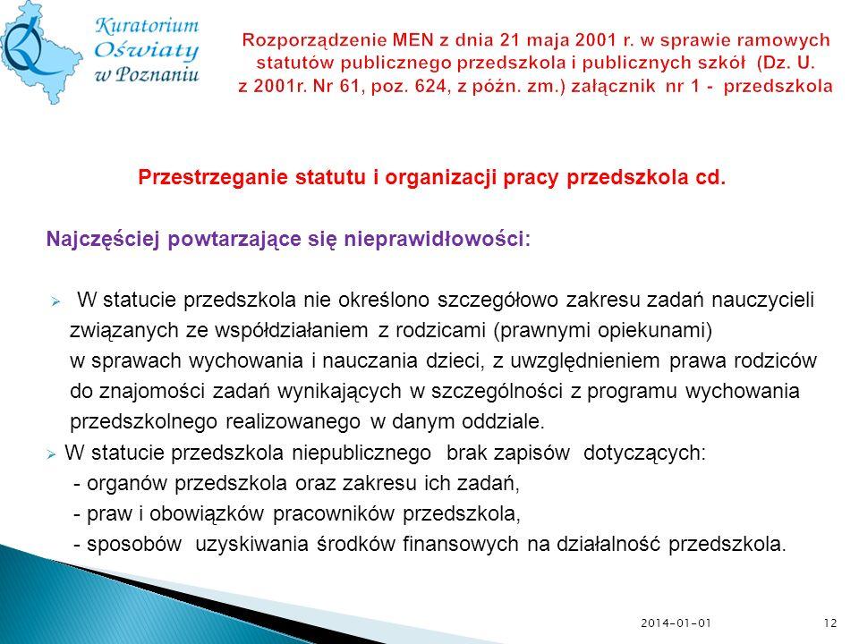 Przestrzeganie statutu i organizacji pracy przedszkola cd.
