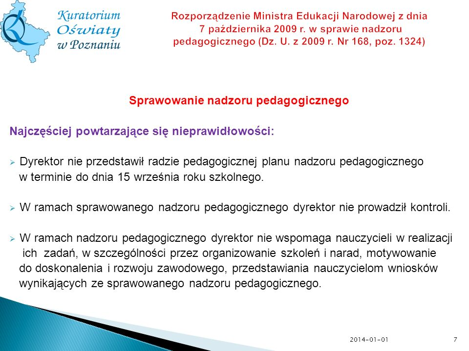 Sprawowanie nadzoru pedagogicznego