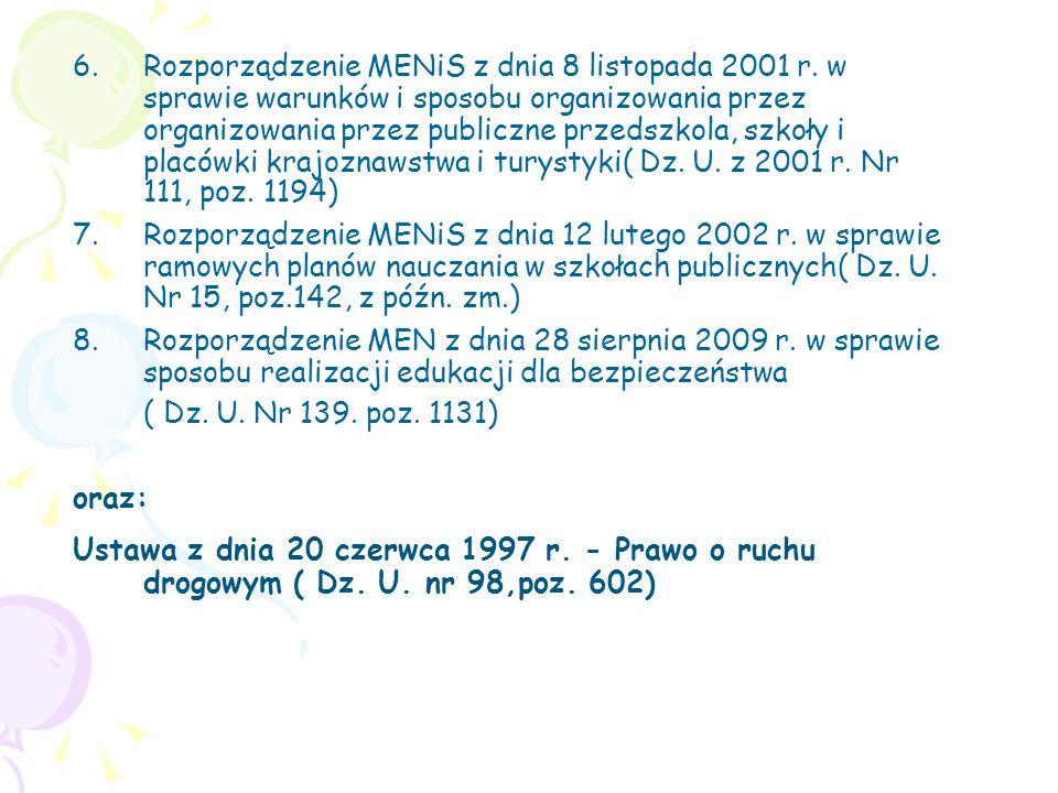 Rozporządzenie MENiS z dnia 8 listopada 2001 r