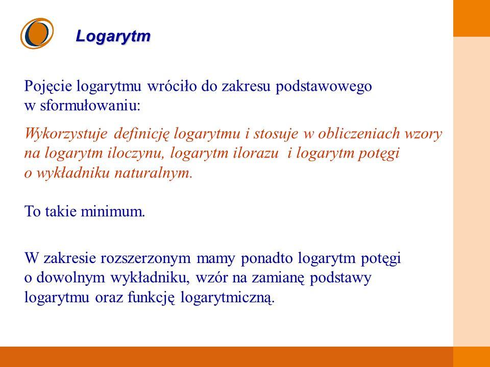 Pojęcie logarytmu wróciło do zakresu podstawowego w sformułowaniu: