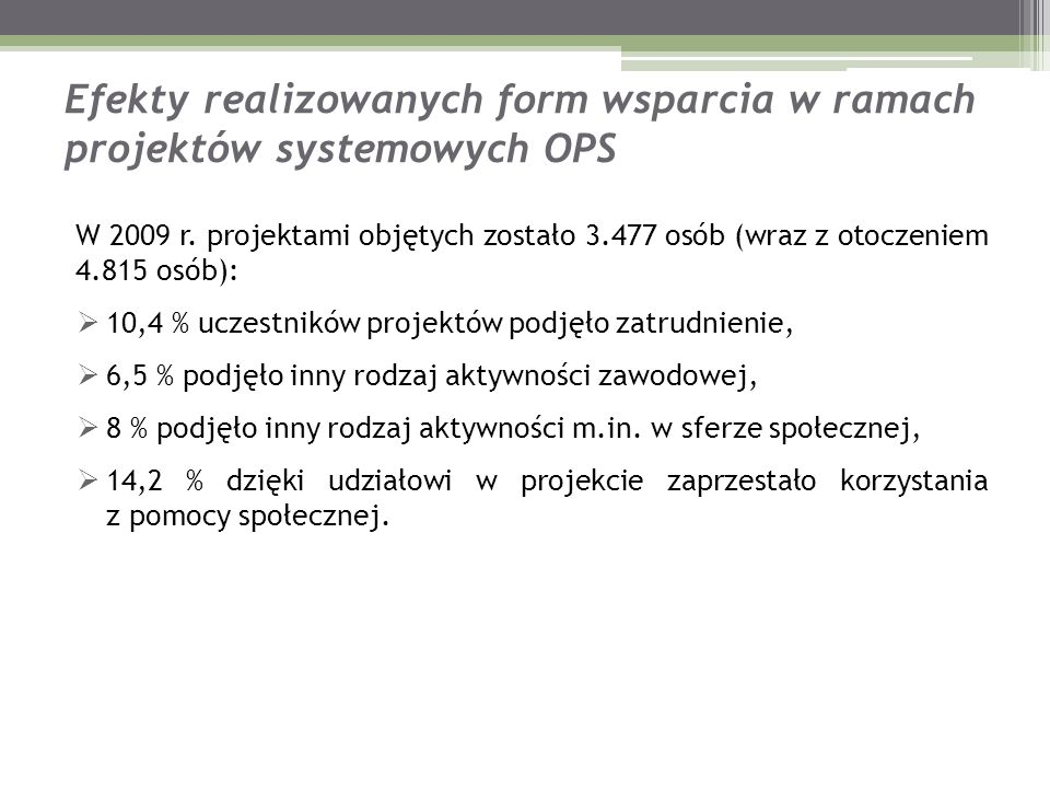 Efekty realizowanych form wsparcia w ramach projektów systemowych OPS