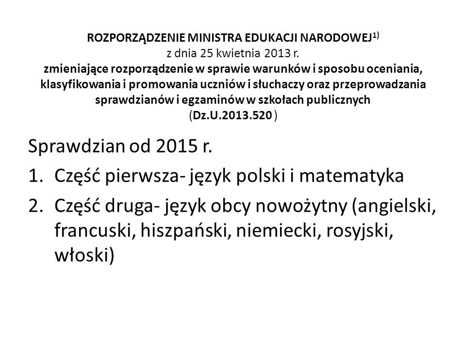 Część pierwsza- język polski i matematyka