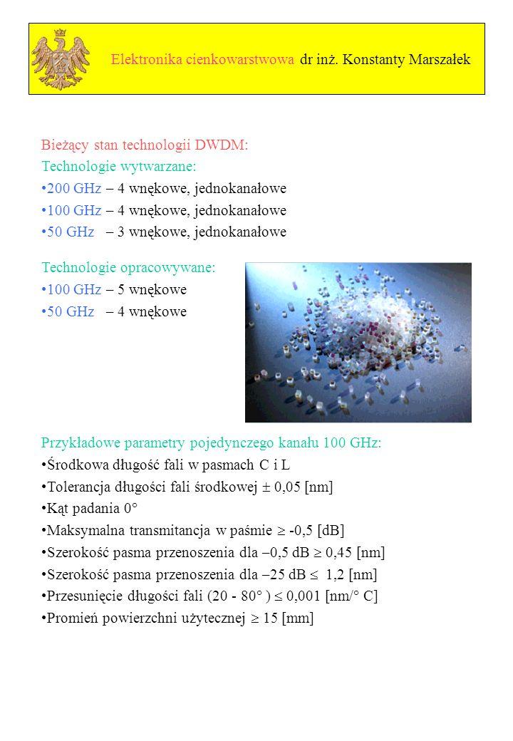 Elektronika cienkowarstwowa dr inż. Konstanty Marszałek
