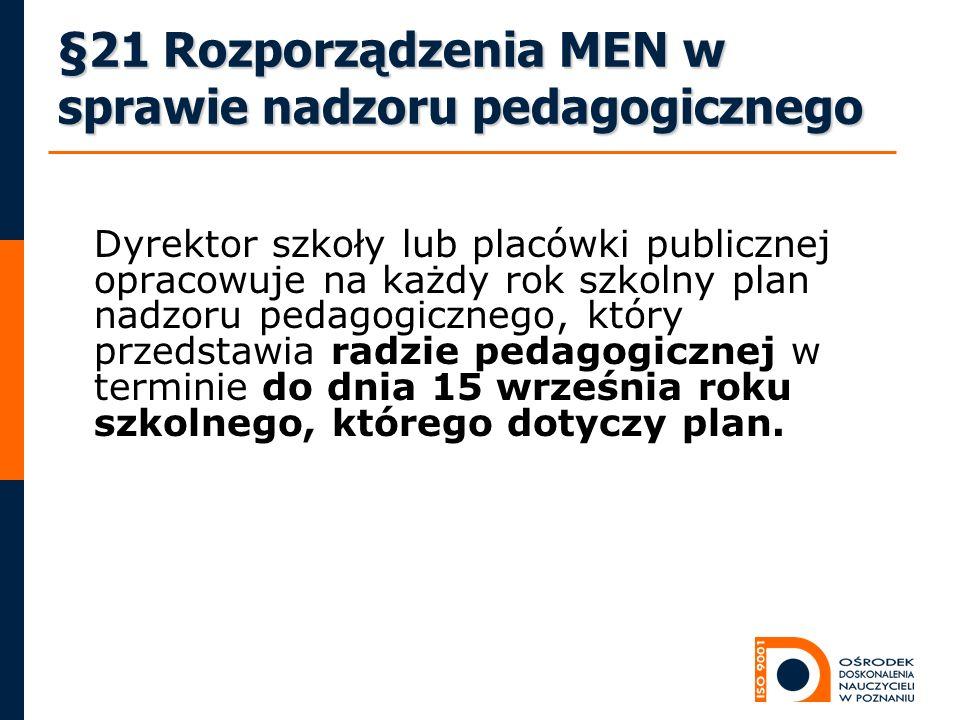 §21 Rozporządzenia MEN w sprawie nadzoru pedagogicznego