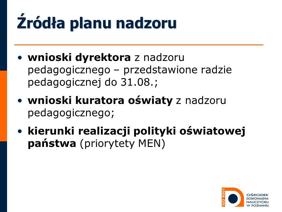 Źródła planu nadzoru wnioski dyrektora z nadzoru pedagogicznego – przedstawione radzie pedagogicznej do 31.08.;
