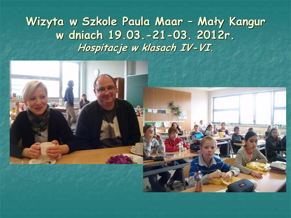Wizyta w Szkole Paula Maar – Mały Kangur w dniach 19.03.-21-03. 2012r. Hospitacje w klasach IV-VI.