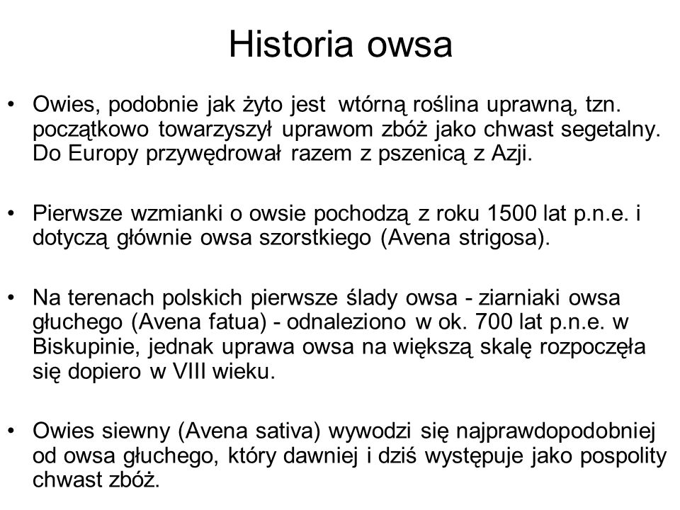 Historia owsa