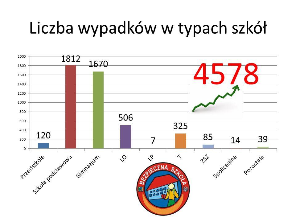 Liczba wypadków w typach szkół