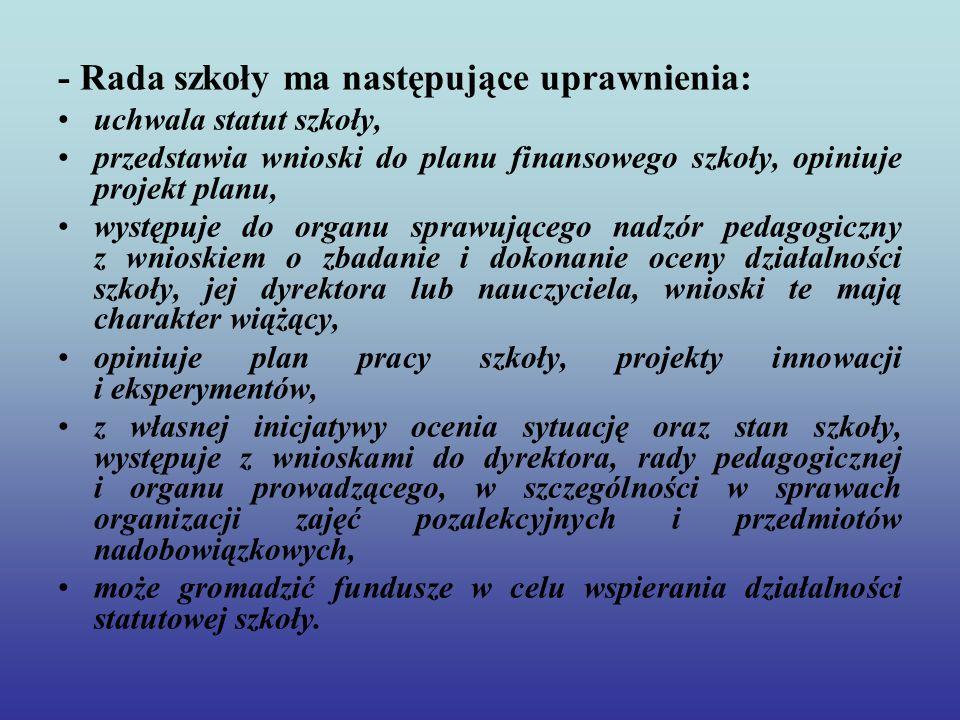 - Rada szkoły ma następujące uprawnienia: