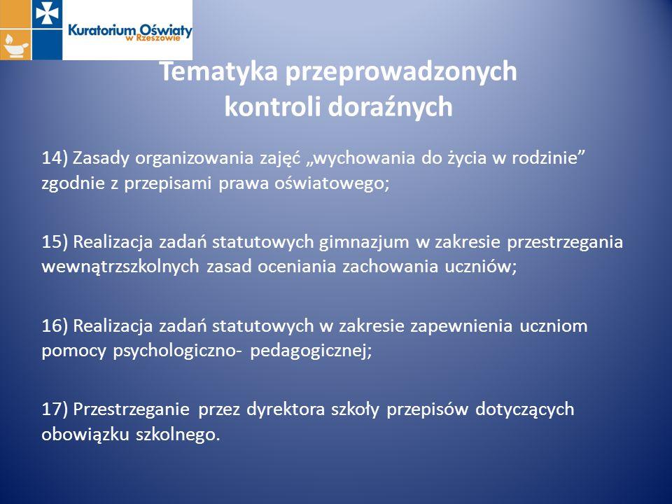 Tematyka przeprowadzonych kontroli doraźnych