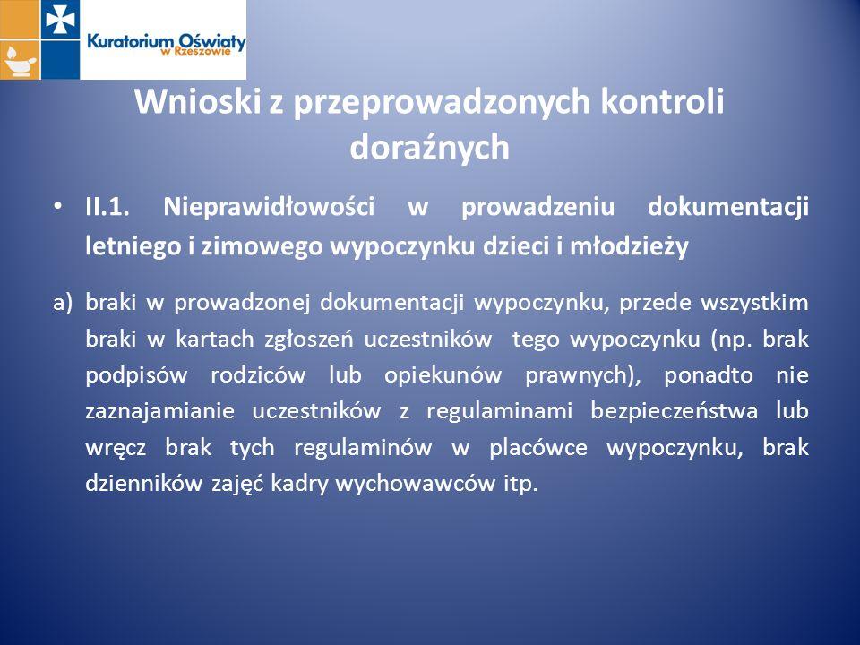 Wnioski z przeprowadzonych kontroli doraźnych