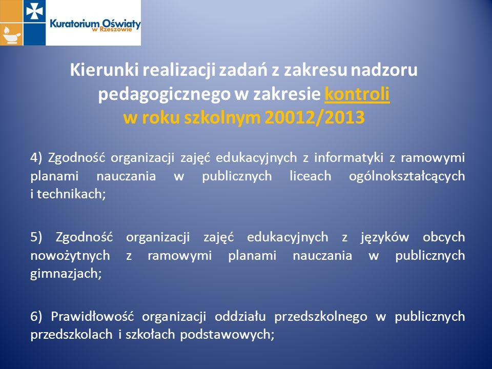 Kierunki realizacji zadań z zakresu nadzoru pedagogicznego w zakresie kontroli w roku szkolnym 20012/2013