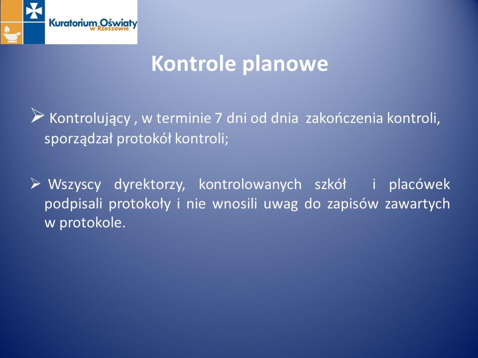 Kontrole planowe Kontrolujący , w terminie 7 dni od dnia zakończenia kontroli, sporządzał protokół kontroli;