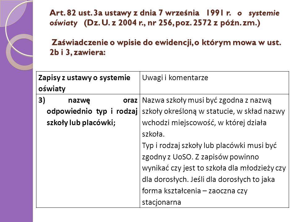 Art. 82 ust. 3a ustawy z dnia 7 września 1991 r. o systemie oświaty (Dz. U. z 2004 r., nr 256, poz. 2572 z późn. zm.) Zaświadczenie o wpisie do ewidencji, o którym mowa w ust. 2b i 3, zawiera: