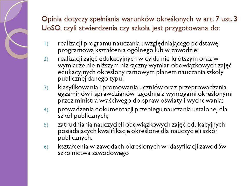 Opinia dotyczy spełniania warunków określonych w art. 7 ust