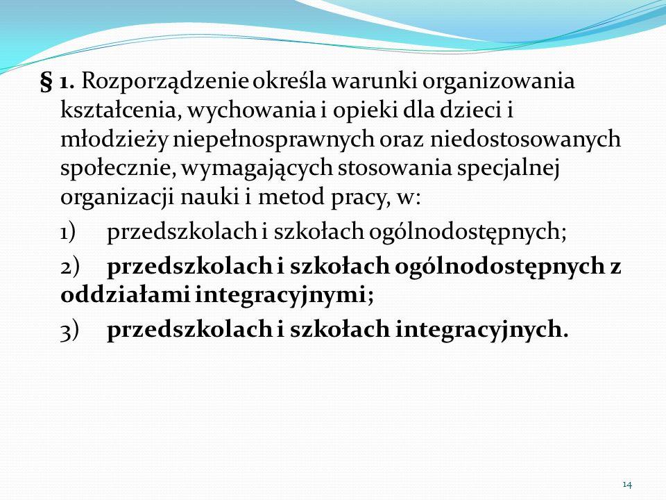 § 1. Rozporządzenie określa warunki organizowania kształcenia, wychowania i opieki dla dzieci i młodzieży niepełnosprawnych oraz niedostosowanych społecznie, wymagających stosowania specjalnej organizacji nauki i metod pracy, w: