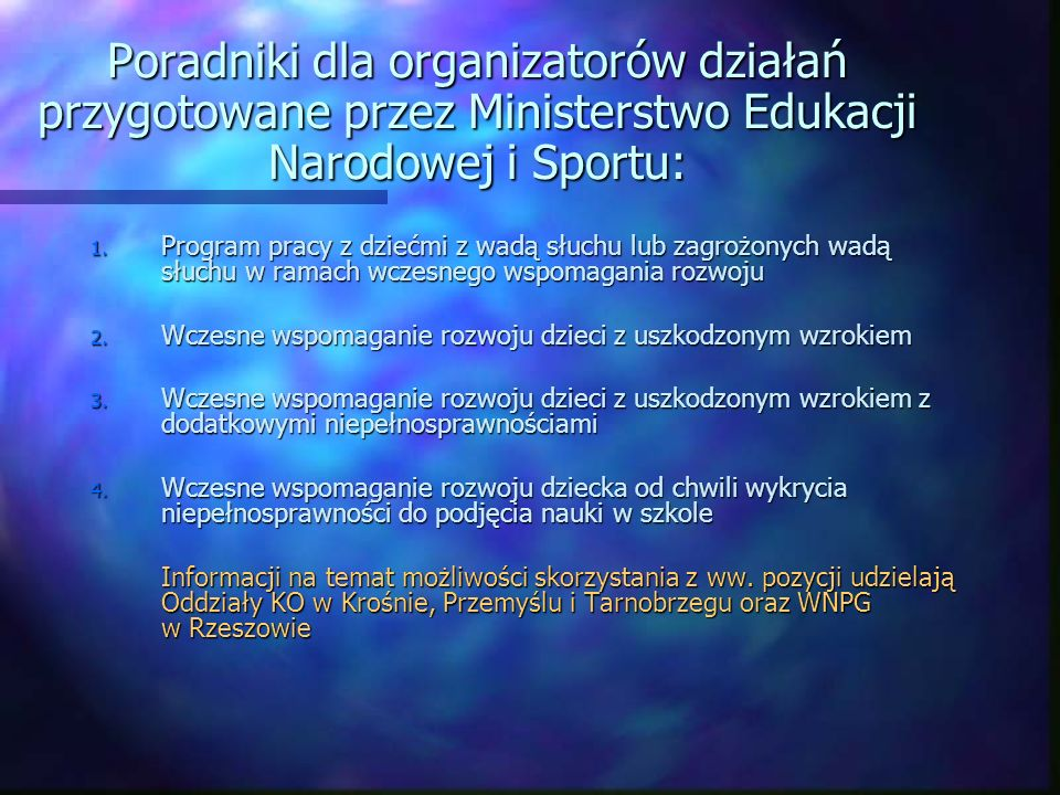 Poradniki dla organizatorów działań przygotowane przez Ministerstwo Edukacji Narodowej i Sportu: