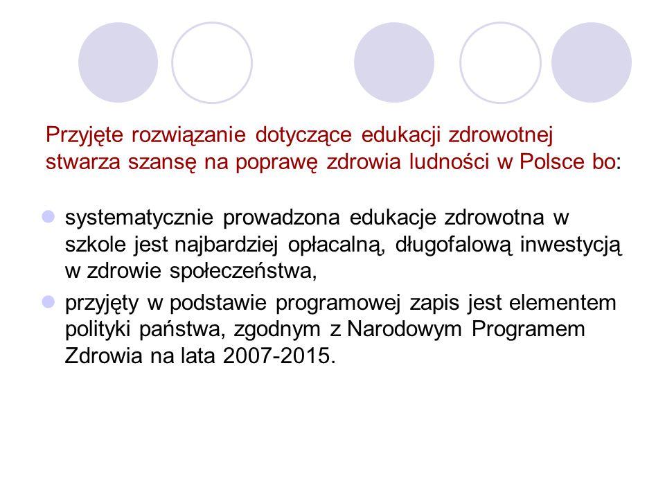 Przyjęte rozwiązanie dotyczące edukacji zdrowotnej stwarza szansę na poprawę zdrowia ludności w Polsce bo: