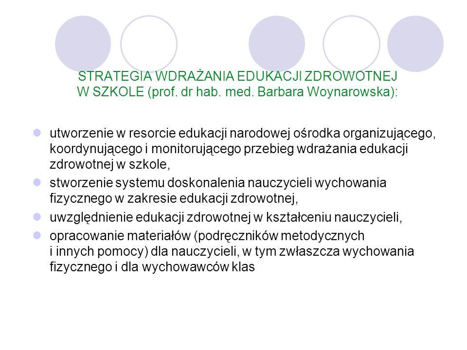 STRATEGIA WDRAŻANIA EDUKACJI ZDROWOTNEJ W SZKOLE (prof. dr hab. med