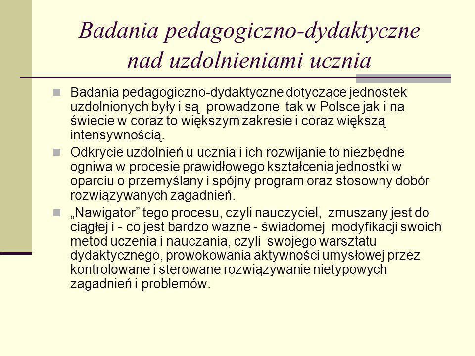 Badania pedagogiczno-dydaktyczne nad uzdolnieniami ucznia