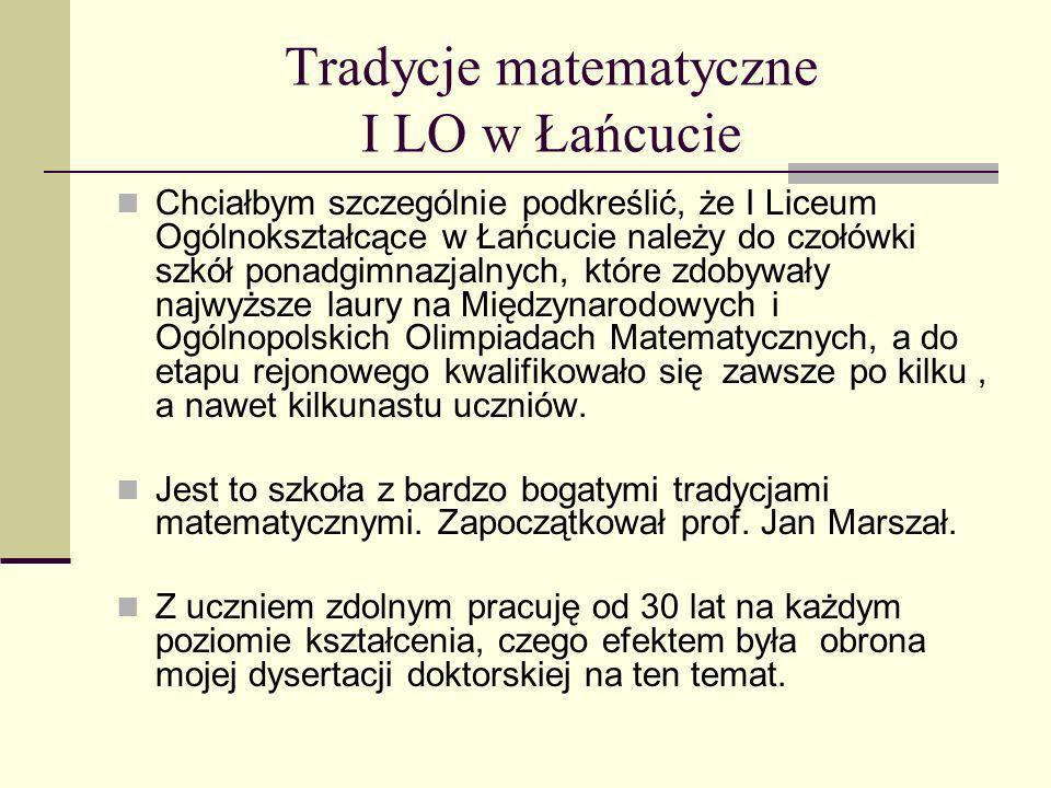 Tradycje matematyczne I LO w Łańcucie