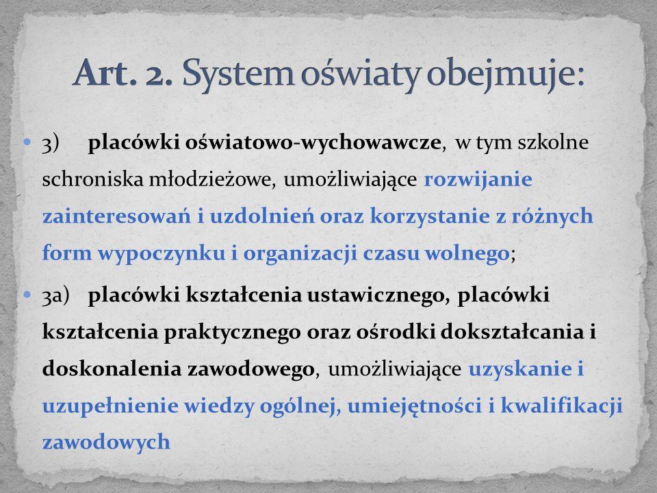 Art. 2. System oświaty obejmuje: