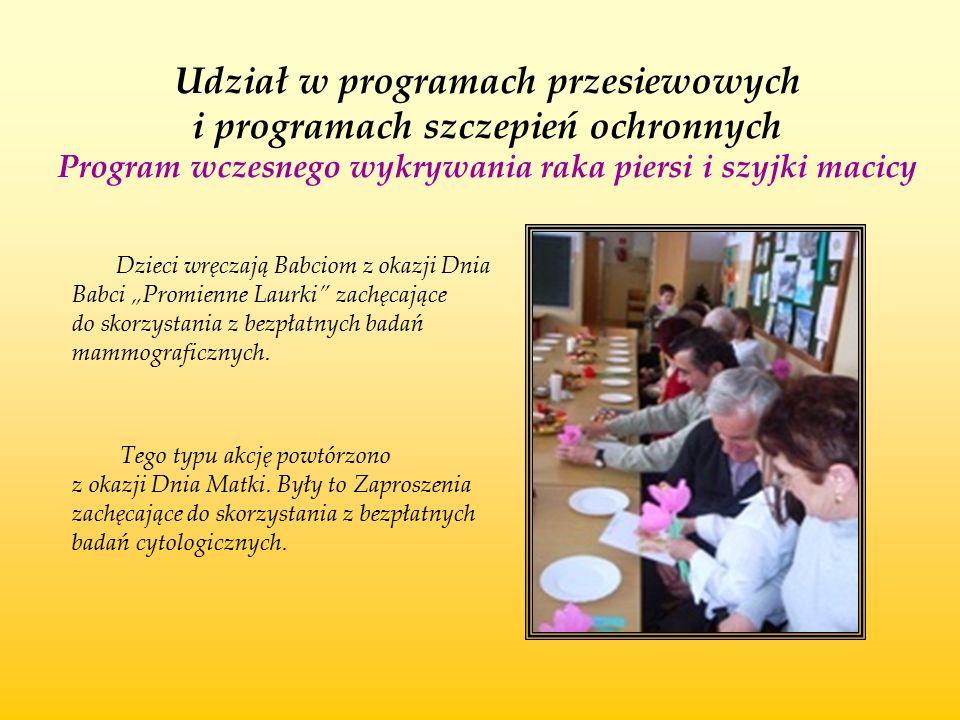 Udział w programach przesiewowych i programach szczepień ochronnych Program wczesnego wykrywania raka piersi i szyjki macicy