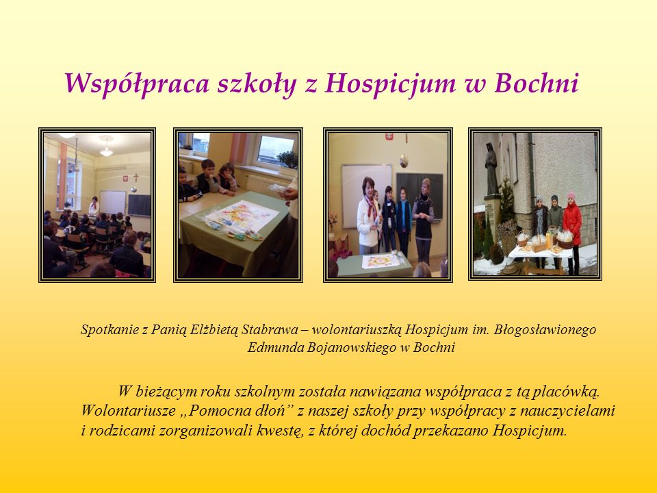 Współpraca szkoły z Hospicjum w Bochni