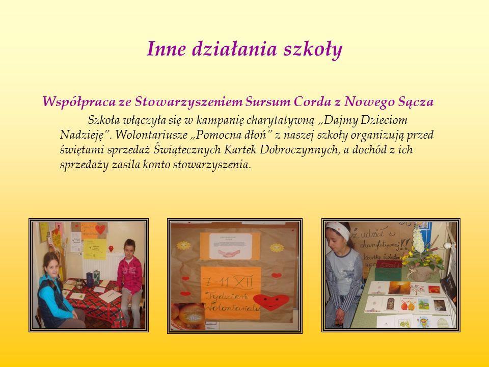 Inne działania szkoły Współpraca ze Stowarzyszeniem Sursum Corda z Nowego Sącza.