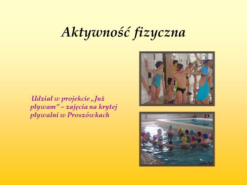 """Aktywność fizyczna Udział w projekcie """"Już pływam – zajęcia na krytej pływalni w Proszówkach"""