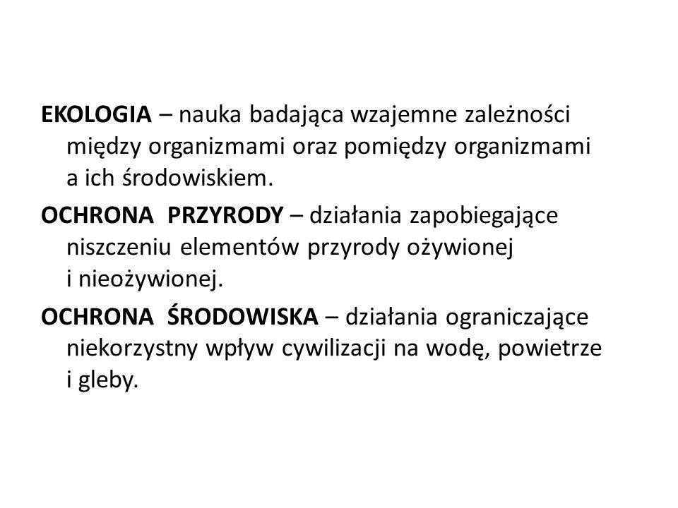EKOLOGIA – nauka badająca wzajemne zależności między organizmami oraz pomiędzy organizmami a ich środowiskiem.