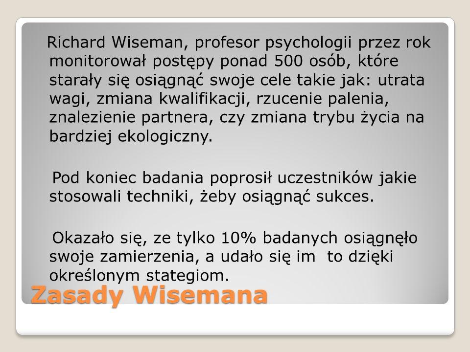 Richard Wiseman, profesor psychologii przez rok monitorował postępy ponad 500 osób, które starały się osiągnąć swoje cele takie jak: utrata wagi, zmiana kwalifikacji, rzucenie palenia, znalezienie partnera, czy zmiana trybu życia na bardziej ekologiczny. Pod koniec badania poprosił uczestników jakie stosowali techniki, żeby osiągnąć sukces. Okazało się, ze tylko 10% badanych osiągnęło swoje zamierzenia, a udało się im to dzięki określonym stategiom.