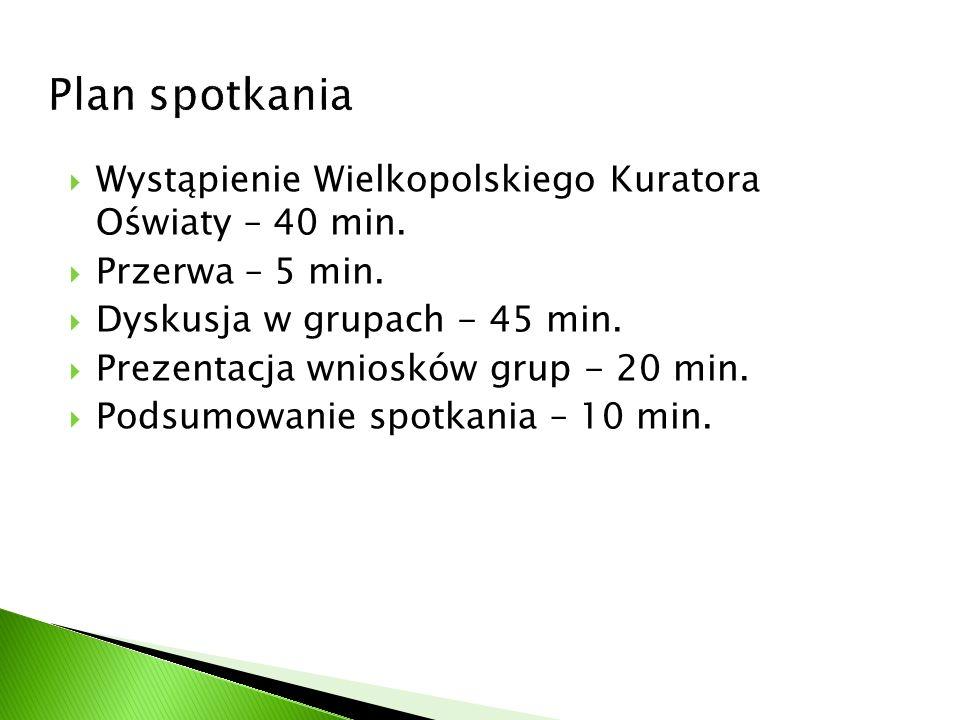 Plan spotkania Wystąpienie Wielkopolskiego Kuratora Oświaty – 40 min.