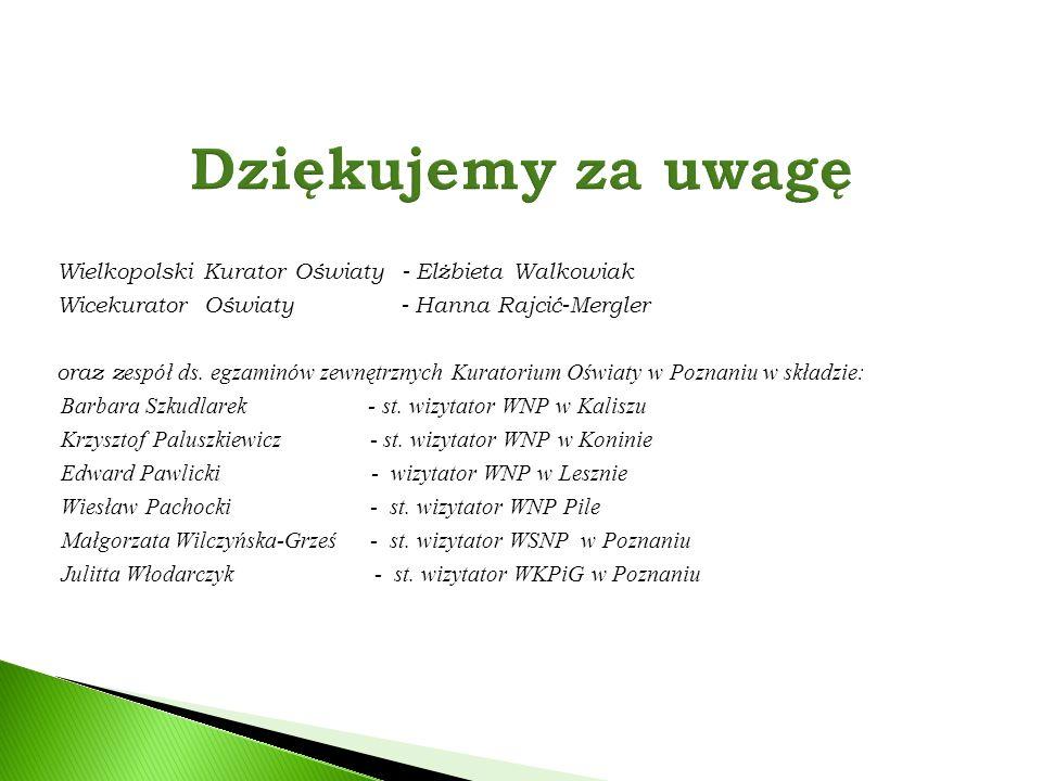 Dziękujemy za uwagę Wielkopolski Kurator Oświaty - Elżbieta Walkowiak