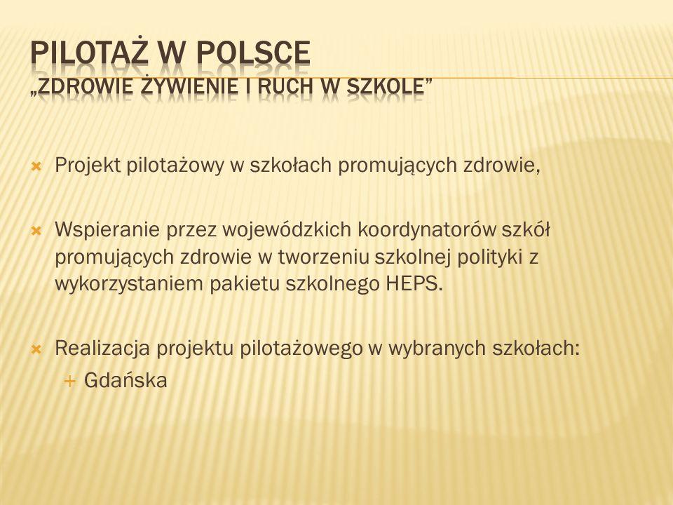 """Pilotaż w Polsce """"Zdrowie żywienie i ruch w szkole"""