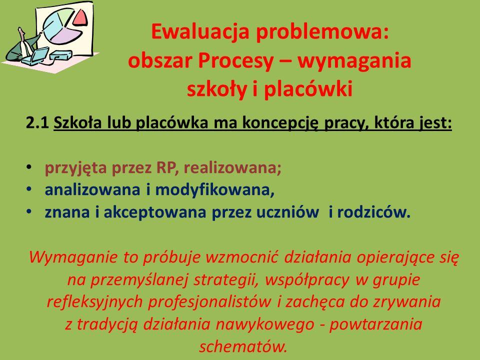 Ewaluacja problemowa: obszar Procesy – wymagania szkoły i placówki